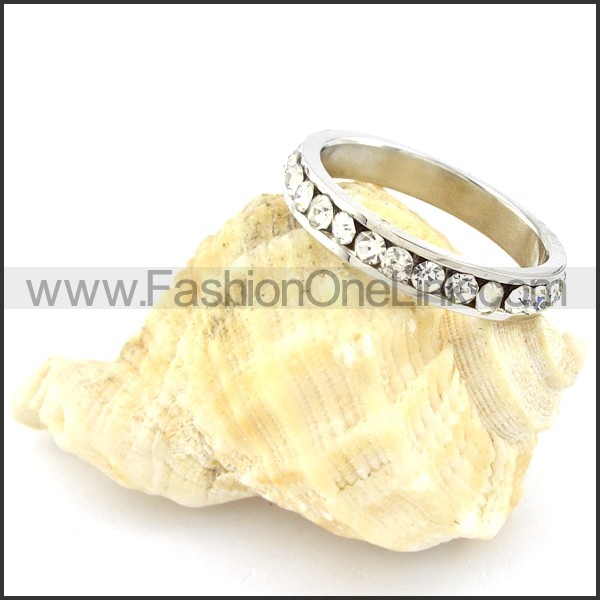 Stainless Steel  Clear Zircon Wedding Ring r000633