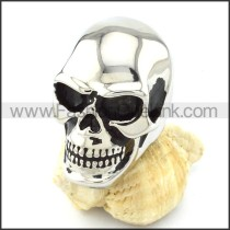 Silver Tone Large Bareheaded Skull Ring r000720