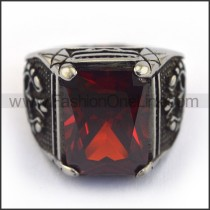 Exquisite Vintage Staninless Steel Stone Ring  r003454
