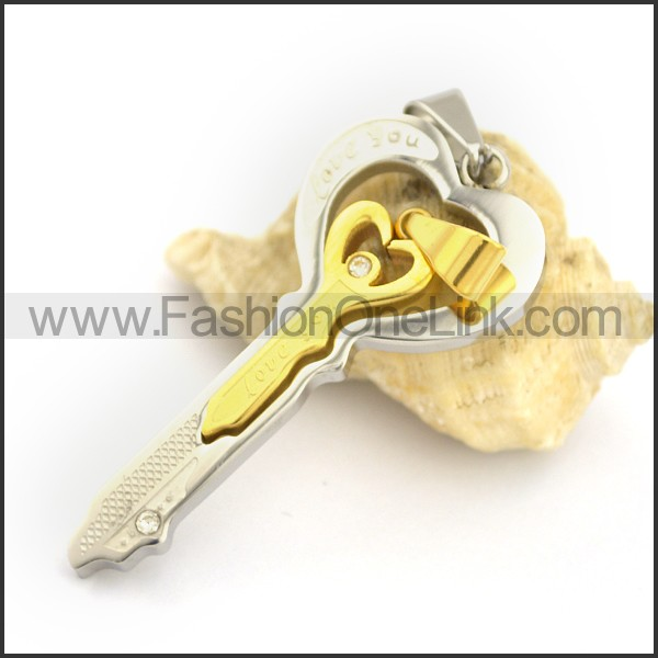 Delicate Stainless Steel Couple Pendant   p002425