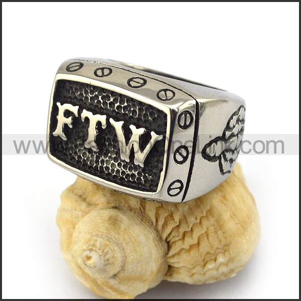 Fashion Stainless Steel FTW Biker Ring r003571