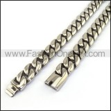 Silver Interlocking Stamping Necklace n001138