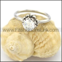 Graceful Stainless Steel Stone Ring  r002081