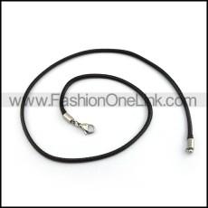 Black Succinct Leather Necklace n000985