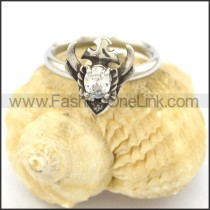 Graceful Stainless Steel Stone Ring  r002079