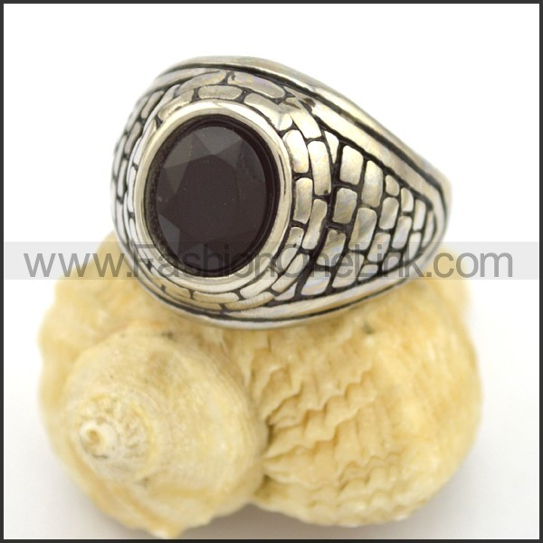 Vintage Stone Stainless Steel Ring r002692