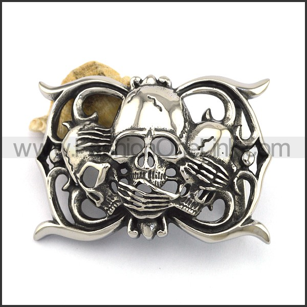 Shy Skull Heads Belt Buckle bu000048