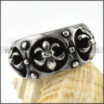 French Stainless Steel Cross Ring r000080