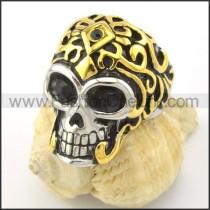 Black Zircon Eyes Skull Ring r001167