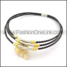 Unique Black Leather Silver Necklace     n000451