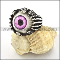 Stainless Steel Prong Setting Purple Eye Ring r000531