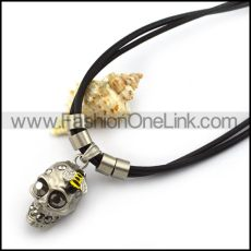 Double Black Cord Necklace with Bee on Skull Pendant n001427
