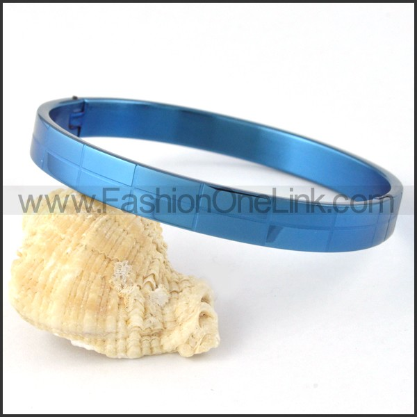 Blue Small Rectangle Design Couple Bangle b000410