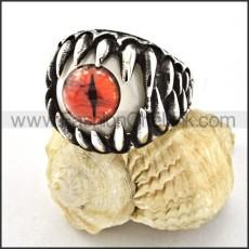 Stainless Steel Orange Eye Ring r000533