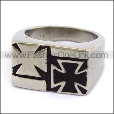 Stainless Steel Double Cross Ring r003674
