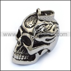 3D Fire Skull Pendant in Stainless Steel p004071