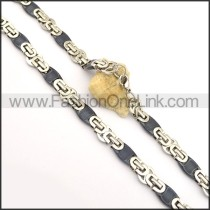 Silver and Black Interlocking Chain Plated Necklace n000844