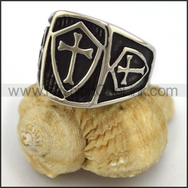 Stainless Steel Cross Ring  r003417