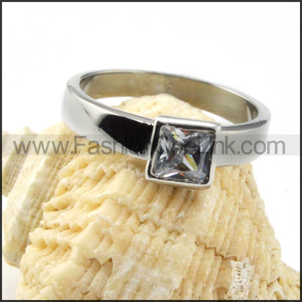 Stainless Steel Classic Square Zircon Ring r000024