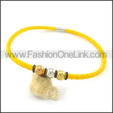Golden Leather Necklace   n000445