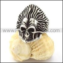 Stainless Steel Long-hairs Skull Ring r000738