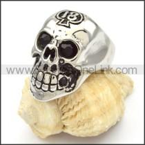 Stainless Steel Black Eyes Skull Ring r000472
