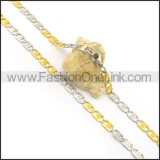 Silver and Gold Flat Interlocking Chain Plated Necklace n000905
