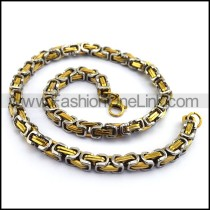 Two Tone Twist Knots Necklace    n000004
