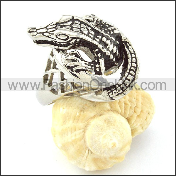 Stainless Steel Alligator Ring r000646