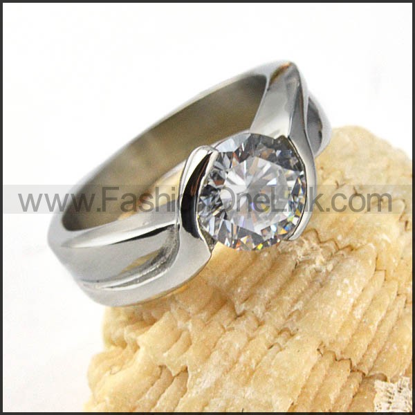 Stainless Steel Comfort Fit Design Zircon Stone Ring r000022