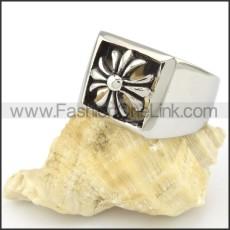 Stainless Steel Flower Design Cross Ring r000555