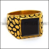 Vintage Exquisite Stainless Steel Stone Ring r003605