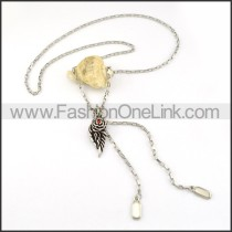 Red Stone WIng Necklace    n000234