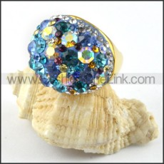 Stainless Steel Colorful Stone Ring r000217