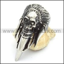 Stainless Steel Tribal Skull Ring  r000319