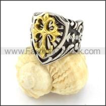 Stainless Golden Cross Biker Ring r000519