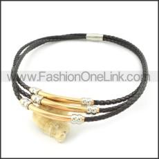 Unique Black Leather Necklace     n000453