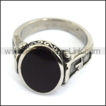 Vintage Stainless Steel Stone Ring  r003600
