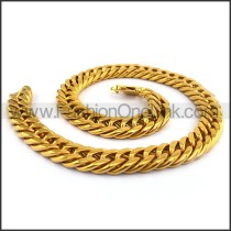 Gold Hasp Stamping Necklace n001133