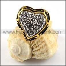 Smoky Stone Stainless Steel Ring in Heart Shaped r000206