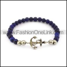 Blue Stone Beads Bracelet with Anchor Charm b006113