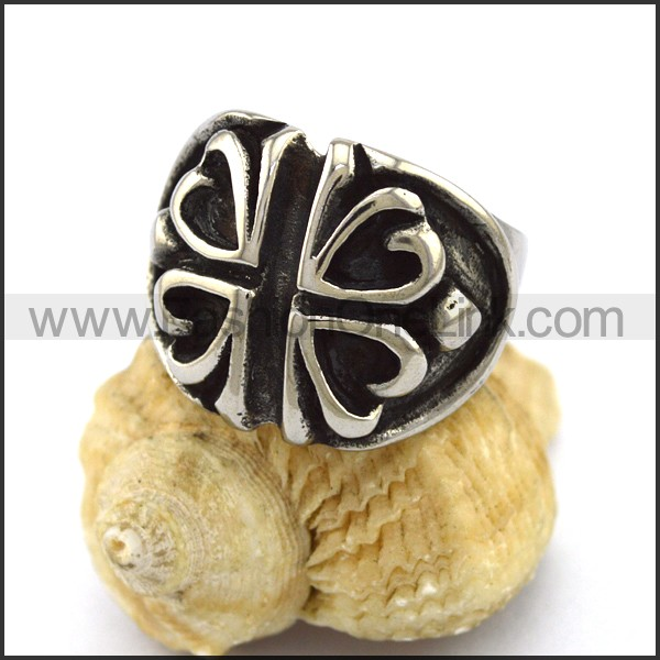 Stainless Steel Cross Ring r003322