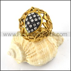 Solid Black and Clear Rhinestones Ring in Gold finishing r000185