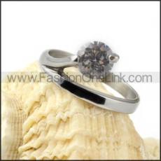 Stainless Steel Zircon Stone Wedding Ring r000030