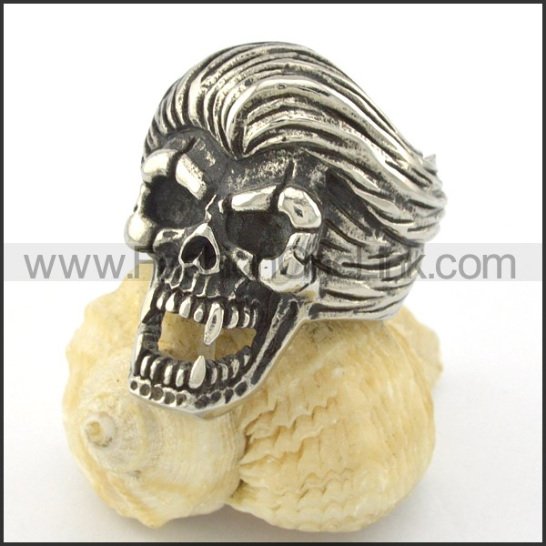 Stainless Steel Wicked Skull Ring r001200