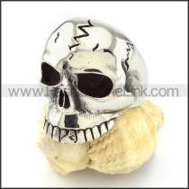 Enjoyable 316L Stainless Steel Crack Skull Ring r000512