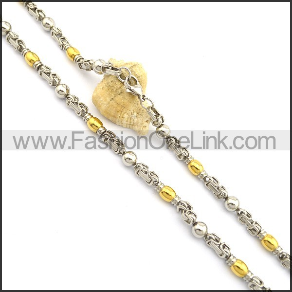 Graceful Gold and Silver Plated Necklace n000775