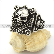 Stainless Steel Vintage Skull Ring r001085