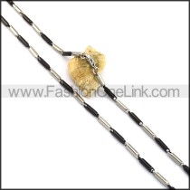 Black and Silver Cylinder Plated Necklace n001064