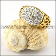 Gold Cover Stainless Steel Ring with Clear Rhinestones r000186